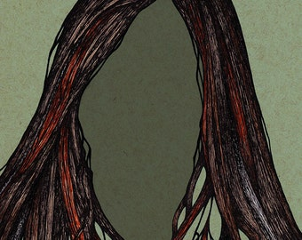 Illustration art prints Surreal portrait woman Green ink drawing Mixed media Giclee print