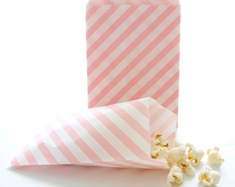 Pink Goodie Bags, Birthday Goody Bags, Designer Gift Bags, Baby Shower Party Favors, 25 Pack - Pink Stripe Paper Bags