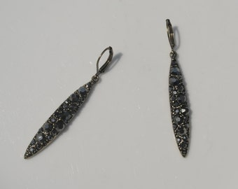 Bronze Dangle Earrings with Black Crystals