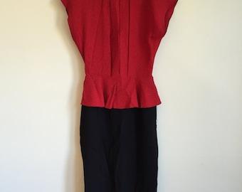 80's Red Polka Dot Dress. 1980's Black Sleeveless Dress. Size 5. Small to Medium.