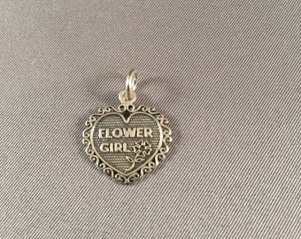 Flower Girl Heart .925 Sterling Silver Charm