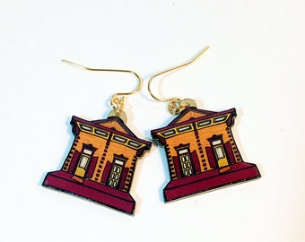 New Orleans Shotgun House in Plum and Burnt Orange – Chartres St. Earrings