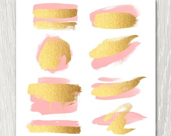 Gold Brush Strokes Clipart - blush & gold, metallic, glitter, gold paint, diy, watercolor logo, pink and gold blog elements, invitation