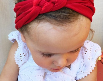ADULT Solid red sailors knot headband