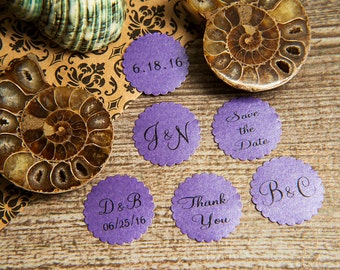 25 Dark Purple Save the Date Envelope seals, wedding stickers invitations. Printed Scalloped Round wedding Favour stickers. Pearlised grape