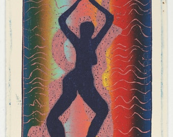 Dancers (Dark Blue Woman/Pink Man) Color Reduction/Rainbow-Rolled Print