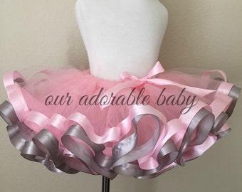 Pink and Gray Baby Tutu | Toddler Tutu | Princess Baby Tutu | Pink Ribbon Tutu | Gray Baby Tutu