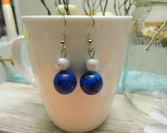 Multi-colored Stacked Bead Dangle Earrings