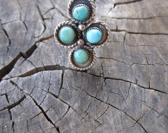 Vintage Navajo Easter Blue Turquoise and Sterling Silver Ring