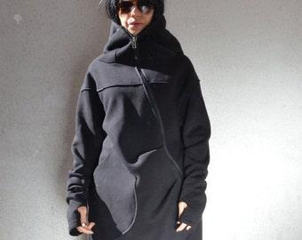Asymmetrical hoodie, long black coat, asymmetrical tunic, hooded coat, asymmetrical jacket, women long coat, asymmetrical dress, asymmetric