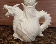 Ceramic Bisque Dragon Tea Pot