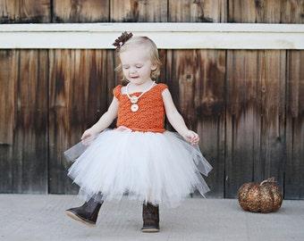 Crochet Tutu Dress, Fall Baby Dress, Toddler Tutu Dress, Baby Wedding Dress, Flower Girl Dress, Fall Wedding Dress, Orange Tutu Dress