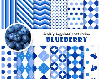 Blueberry 12 digital papers set