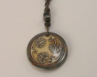 SALE!  Handmade Three Leaf Clay Pendant Necklace, Grey, Gray, Caramel, Clay River Designs