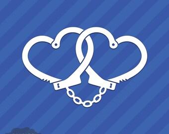 Love Handcuffs Vinyl Decal Sticker Heart Cuffs