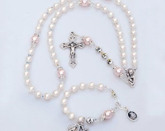 Baby Girl Baptism Gift Set - Matching Swarovski Crystal Rosary and Guardian Angel Baby Bracelet - White with Pink Pearls - Catholic Heirloom