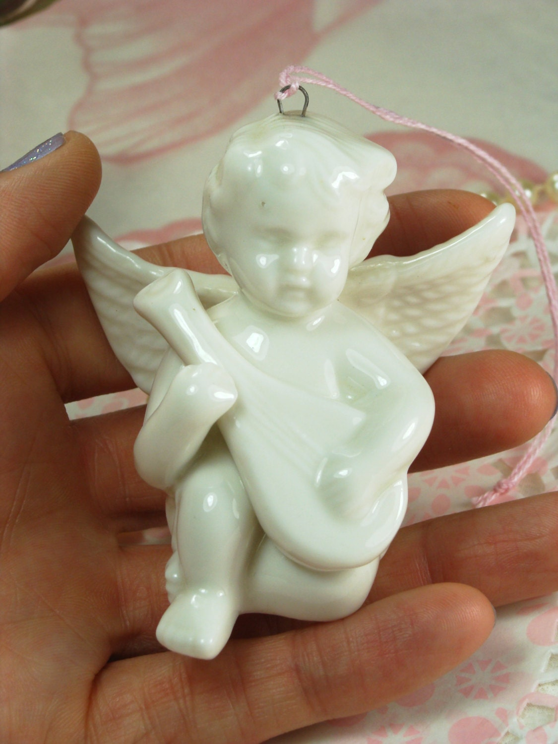 Adorable White Porcelain Cherub Playing The Lute Figurine