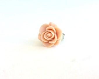 Resin pale pink vintage rose ring (adjustable, flower ring, floral ring)