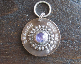 Starburst Bezel Pet ID Tag - Dog Tag - Bridle Tag - Cat Tag - Hand Stamped Natural Brass
