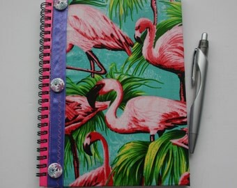 A5 flamingo fabric covered notebook, lined notebook, retro journal, flamingo, flamingo journal, notebook, fabric notebook, fabric journal