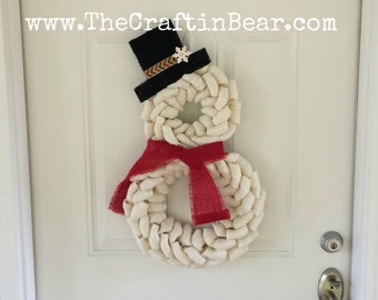 Snowman wreath - Burlap wreath - Christmas wreath - Snowman burlap wreath - Snowman decor - Snowman - White burlap - Winter decor