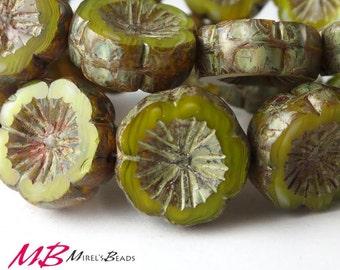 6 pcs Avocado Green Flower, Czech Glass Beads, Olive Green Flat Flower, 14mm Picasso Beads
