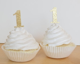 Glitter Number One Cupcake Toppers - Glitter Cupcake Toppers - First Birthday - 1st Birthday - Food Picks - Appetizer picks - Food decor