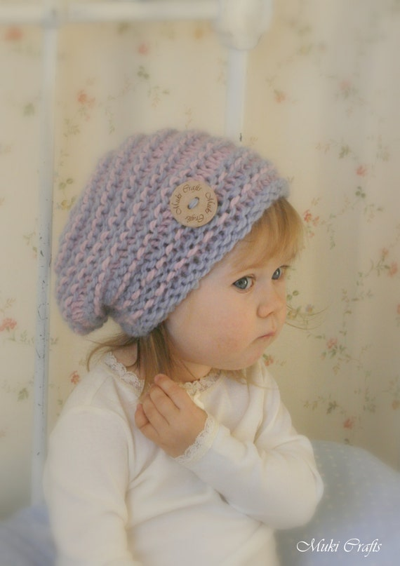 KNITTING PATTERN  slouchy striped hat Kitty (baby, kids, adult sizes)