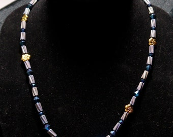 Necklace Blue Crystal Gold Flower Necklace
