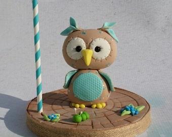 Fondant Baby boy owl Cake topper