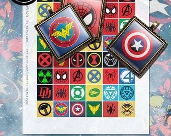 Superheroes Logos Digital Collage Sheet, Square Glass Resin Pendants; 2x2, 1.5x1.5, 1x1, 16x16mm & scrabble tiles .75x.83 inch; Printables