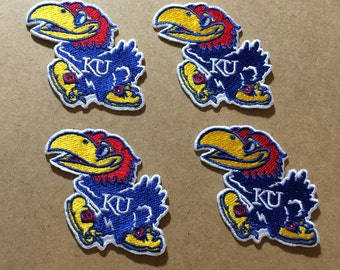 4 Kansas Jayhawks embroidered Iron on patches KU Iron On College patch Bright colors for addition Theme crochet , hats, clothing