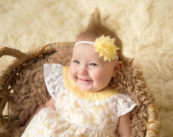 Shabby Chic Flower Headband - Newborn Shabby Chic Flower Headband