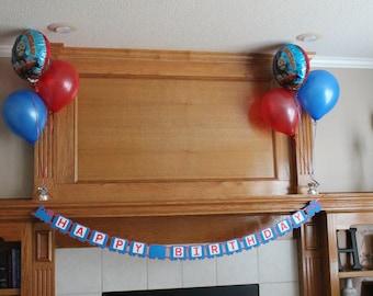 Train Birthday Banner - Choo Choo Birthday Banner