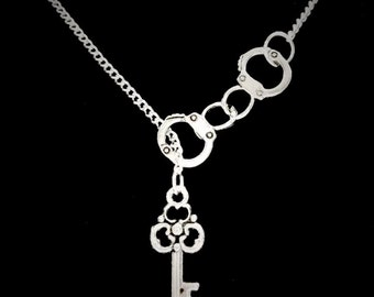 Gift For Her, Handcuff And Key To My Heart, Police Wife, Best Friends Couple Y Lariat Necklace