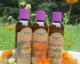 """Natural, """"Infusi-astic"""" Body Oil's, 8 oz. Herbal Infusion, try German Chamomile, Calendula, or Rosehip Seed"""