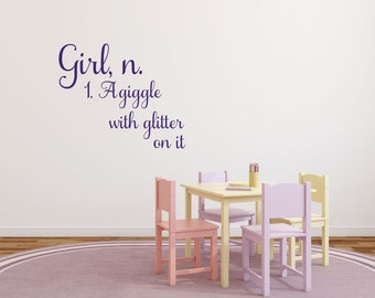 Girl Definition Wall Decal Girl Bedroom Nursery Playroom A Giggle With Glitter On It Wall Decal Baby Girl Wall Decals Girl Bedroom Decal