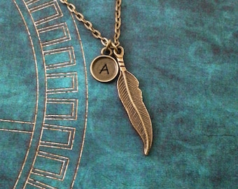 Feather Necklace Bronze Feather Jewelry Brass Feather Charm Necklace Native American Jewelry Pendant Necklace Hunter Jewelry Bird Jewelry