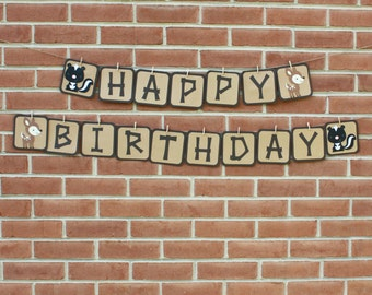 """Woodland Birthday Party, Forest Birthday Party, Woodland """"Happy Birthday"""" Banner, Woodland Party"""
