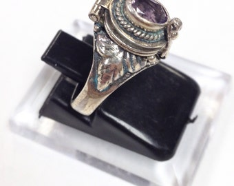 Victorian style Poison / Locket Ring amethyst + Sterling Silver 925 size 7