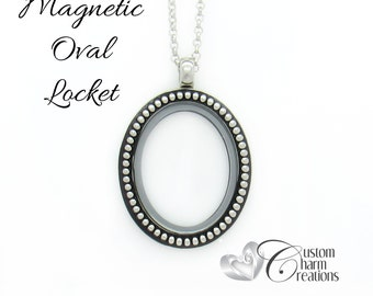 Floating Locket • Oval • Magnetic • Memory Necklace Holds Floating Charms ~ LOC52