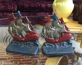 Vintage Cast Iron Ship Bookends
