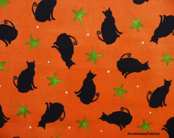 Black Cat Fabric, Maywood Studio Ghouls Night Out 8734, Halloween Quilt Fabric, Black & Orange, Halloween Cats, Cotton