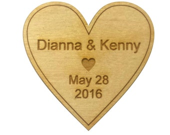 Save The Date Magnet 50 - Custom Rustic Wedding Wood Favors - Single Heart - Laser Wedding Magnet Favor Personalized engraved