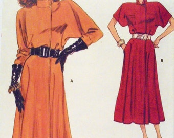 1980s Midi Dress Very Easy Very Vogue 9674 size 14 16 18 Women's Vintage Sewing Pattern Day Dress Flared Skirt Raglan Sleeves Asymmetrical