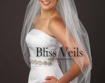 2 Tier Veil, Veil with Blusher, Ivory Blusher Veil, Fingertip Veil, Rhinestone Veil, Romantic Veil, Ivory Veil, Romantic Veil, Simple Veil