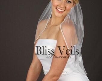 Rhinestone Veil,  Short Veil, Custom Veil, 1 Tier Veil, Elbow Veil