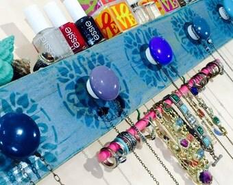 Necklace holder recycled wood /jewelry storage wall hanging organizer/ jewellry hanger Stenciled mandalas 2 blue hooks 5 knobs bracelet bar