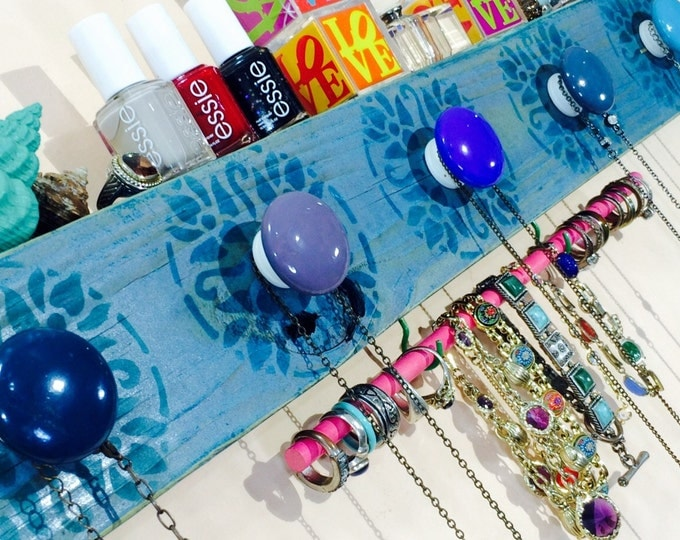 Necklace holder recycled wood /jewelry storage wall hanging organizer/ jewellry hanger Stenciled mandalas 2 blue hooks 5 knobs bracelet bar