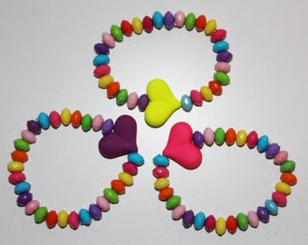Children's Jewelry Rubberized Colorful Hearts, Colorful Bracelet, Heart Bracelet, Childrens Bracelet, Childrens Jewelry